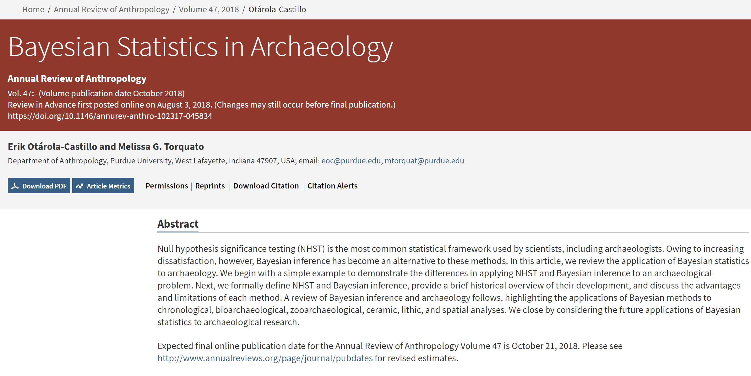 Bayesian Statistics in Archaeology – LCA